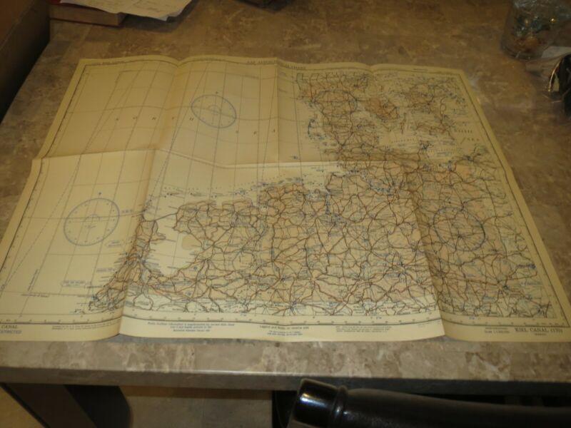 WW2 AAF Aeronautical Chart, Kiel Canal Germany, 1943