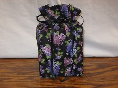 Lots of Lilac flowers on black cotton fabric Handmade square Tissue Box -