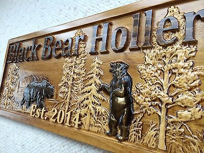 Personalized Wooden Sign Lake House Cabin Decor Camper Custom Carved Black Bear ()