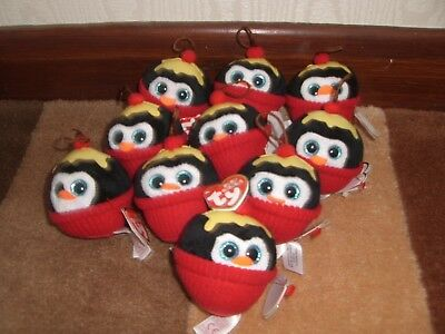 job lot of 10 TY NEW Christmas penguin soft toys