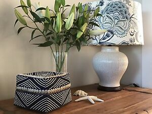 Extra Large navy Bali beaded decorative box, coastal, Hamptons style Newport Pittwater Area Preview