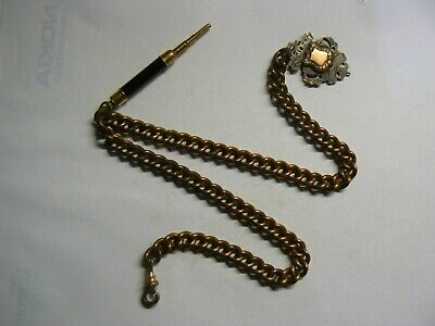 Victorian Vintage Rose Gold Plate Double Albert Pocket Watch Chain with Fob &Pen