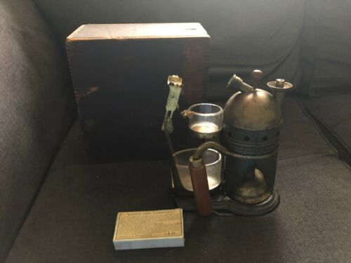 Vintage CODMAN & SHURTLEFF Steam Atomizer w/ Wood Box 1860