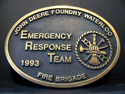 John Deere Waterloo Foundry FIRE BRIGADE ERT Belt Buckle 1993 Employee 1 of 100
