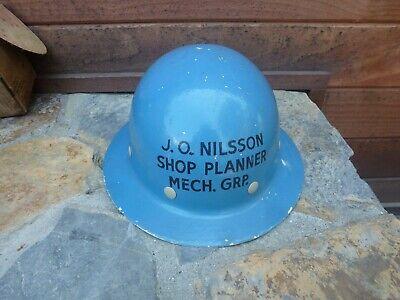 Vintage Fiber-metal Blue Hard Hat Construction Helmet