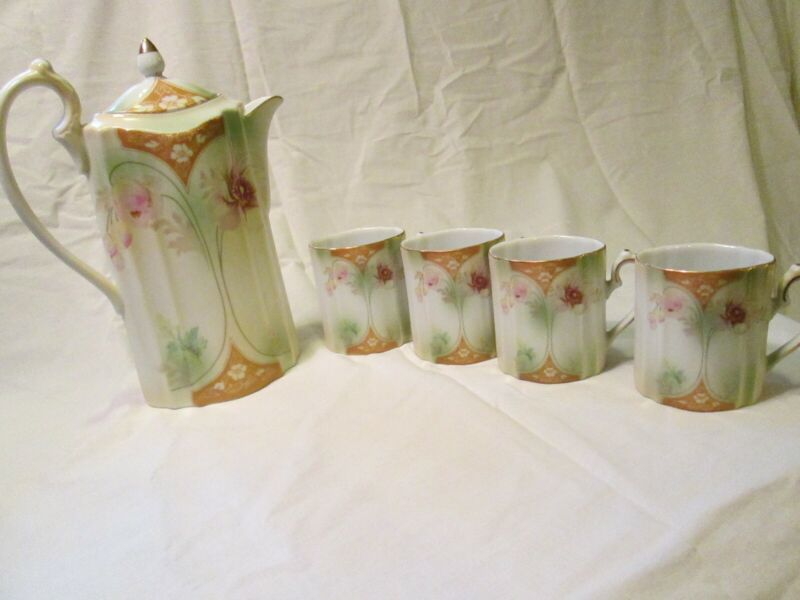 Victorian Trading Company Tea Coffee Chocolate/cocoa Set with Pot and 4 Cups