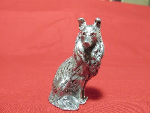 Pewter Collie Dog Figurine 2 inches tall