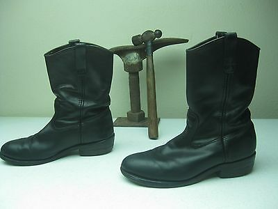 BLACK LEATHER RED WING VINTAGE STYLE STEEL TOE ENGINEER MOTORCYCLE  BOOTS 10 D