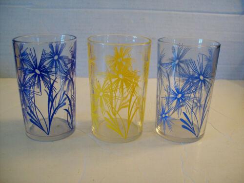 "3 Kraft Swanky Swig Glasses Cornflower Swankyswig 3 1/2"" yellow blue"