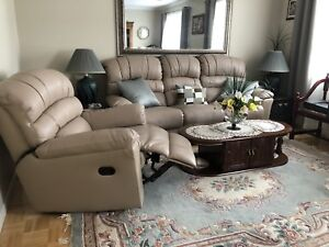 LEATHER BONDED RECLINING SOFA & CHAIR IN EXELLENT COND.        .