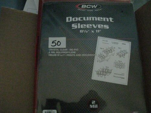 """(50) BCW 8.5"""" X 11"""" SOFT SLEEVES 2 MIL POLY 8-1/2"""" X 11"""" PRINT DOCUMENT PAGE"""