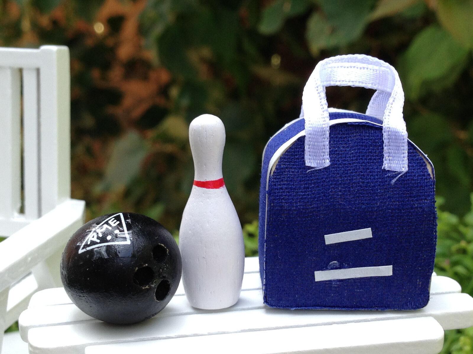 Miniatur Puppenhaus Märchengarten Zubehör ~ Bowlingtasche mit Stift & Kugel ~