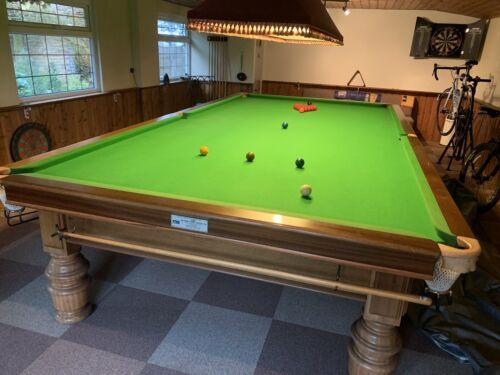 AandD Birmingham Slate Bed Full Size Snooker Table Light Oak Finish Ground Floor