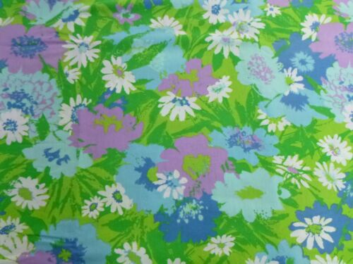 Vtg Fieldcrest Flower Power Double Full Flat 50/50 Percale Purple Blue Daisies