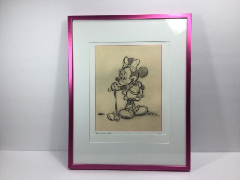 Disney Minnie Mouse Golf Art Print Poster - Custom Framed Pencil Sketch 11x14