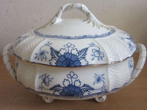 large Antique Wedgwood England SAXON porcelain blue & white soup tureen w/ lid