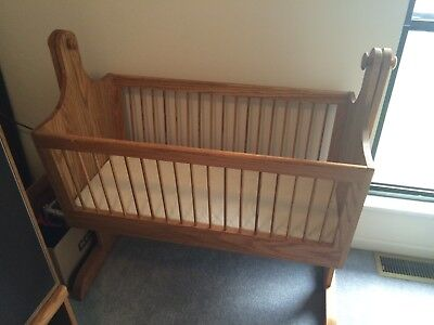 baby cradle, vintage, oak, handmade, excellent condition, local pick up only