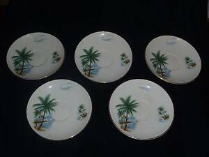 5 RETRO SWINNERTONS HAWAIIAN PRINT SAUCERS MADE IN ENGLAND Redland Bay Redland Area Preview
