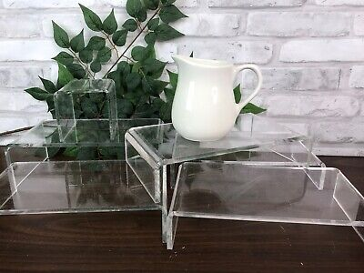 Clear Acrylic Risers Stands Store Display Fixtures 6 Pc Set Assorted Sizes