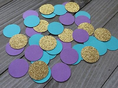 150 Mermaid Confetti, Gold Glitter, Teal And Purple Circles, Under The Sea Party - Mermaid Decorations