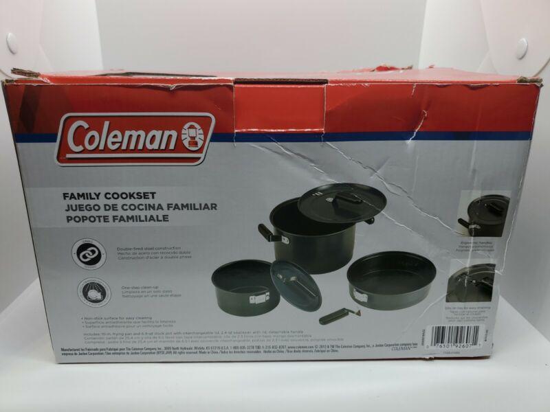 Coleman Family Camping Cook Set Black Outdoor Nonstick Steel 6 pieces.