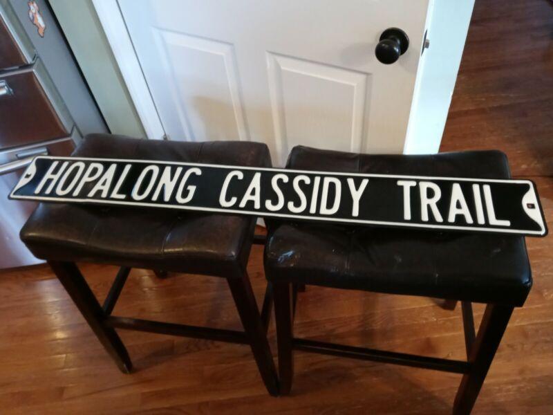 "Hopalong Cassidy Metal Sign Black White 46"" x 6"" Western Decor Man Cave EUC"