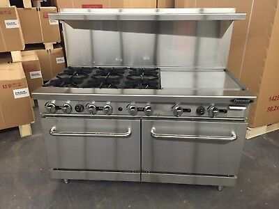 60 Range With Griddle 24 6 Burners 2 Full Double Size Standard Ovens Commer