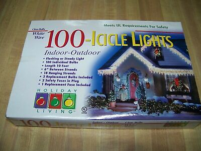 Holiday Living 100-Count Icicle Lights Indoor/Outdoor Clear Bulbs/White Wire