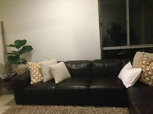 Oz Design brown leather modular lounge in very good condition Kingscliff Tweed Heads Area Preview