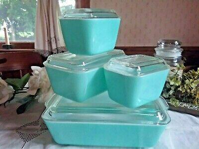 PYREX TURQUOISE REFRIGERATOR DISH SET OLD STYLE LIDS ~SHABBY CHIC ~GIFT WORTHY - Turquoise Dish Set