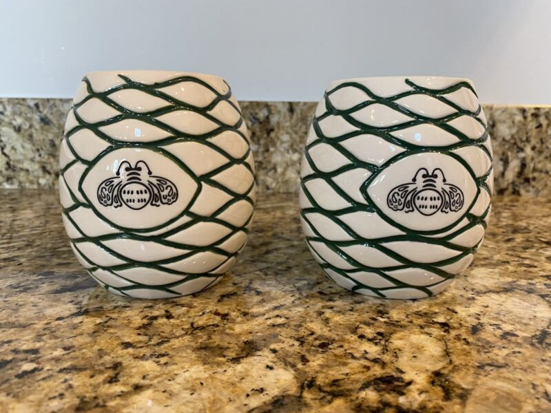 Set of 2 Patron Tequila Ceramic Cups / Glasses