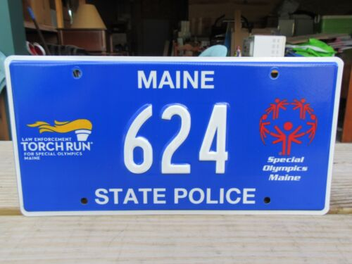 Torch Run Olympics Maine State Police License Plate Tag #624