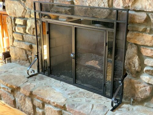 Decorative Fireplace Screen With Glass Accents-Black Finish (Medium)