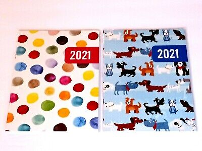 2021 Monthly Planner Calendar Agenda - 7 34 In X 9 14 In Dots Dogs