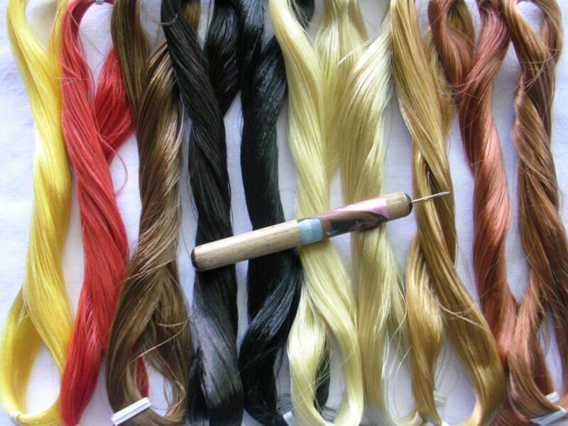 PRO HAIR ROOTING TOOL 4 BARBIE / OOAK DOLL + 1 Skein Saran & 1 extra needle