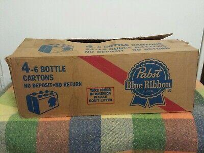 VINTAGE LIGHT WEIGHT PABST BLUE RIBBON CARDBOARD BOX FOUR 12oz -6 BOTTLE (Carton Weight)