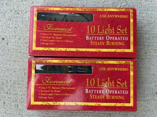 10 Light MULTI String Lights Battery Operated HTF RARE Vintage 2 Sets