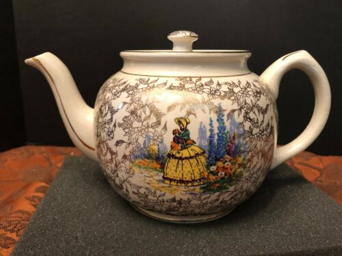 Sadler Vintage Hand-Decorated Teapot Woman in Garden w/ Gold Floral Design 6-Cup