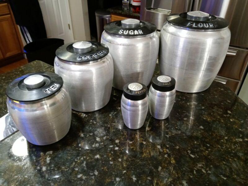 Vintage RETRO KROMEX Spun Aluminum Canister Set Salt & Pepper Lot PLEASE READ