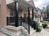 Aluminum railings with columns gates handrail.Homestars approved