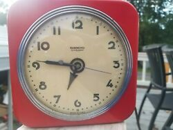 ANTIQUE VTG ART DECO RED HAMMOND ARDIS WALL OR DESK CLOCK SYNCHRONOUS MOVEMENT