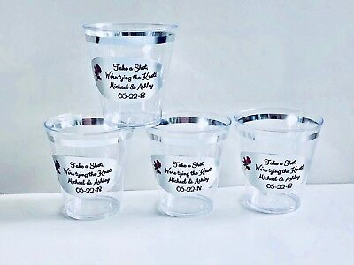 40 PERSONALIZED 2oz. SILVER RIMMED PLASTIC SHOT CUPS for WEDDING PARTY - Personalized Cups For Wedding