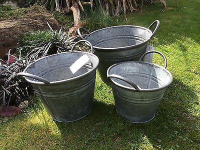 3x Round Vintage Zinc Galvanised Metal Garden Flower Planter Tub Pot Buckets