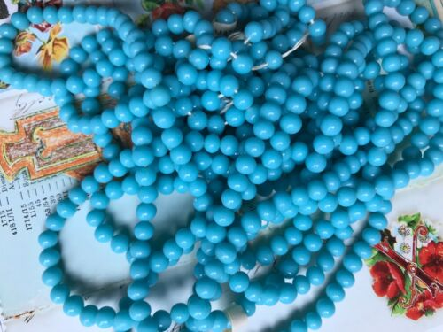 25 Vintage Cherry Brand, Miriam Haskell Glass Beads 6mm, Japan Turquoise #B29
