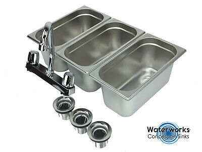Concession Sink 3 Compartment Portable Stand Food Truck Trailer 3 Small Wfaucet