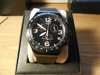 Swatch All Stainless Black/White/Red Dial Chronograph Mens Watch Silicon Band