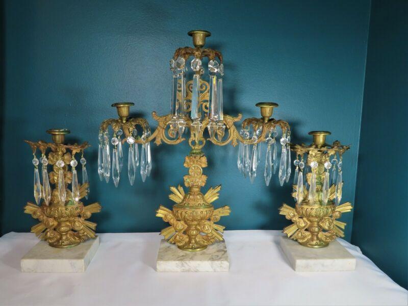 ANTIQUE - 3 piece set SOLID BRASS Marble & Crystal Girandole - Vase Floral Motif