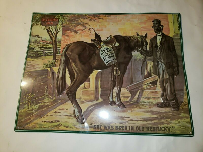 Vintage Green River WHISKEY TIN TACKER ADVERTISING SIGN 17.5X13.5""