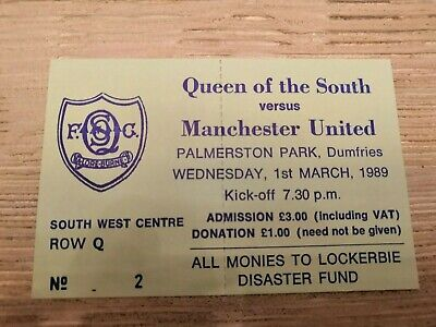Perfect condition Ticket Queen of the South - Manchester United 1989 Friendly