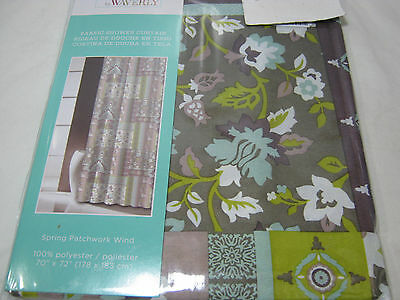 Traditions by Waverly Imperial Spring Patchwork Wind Floral Shower Curtain NIP ()